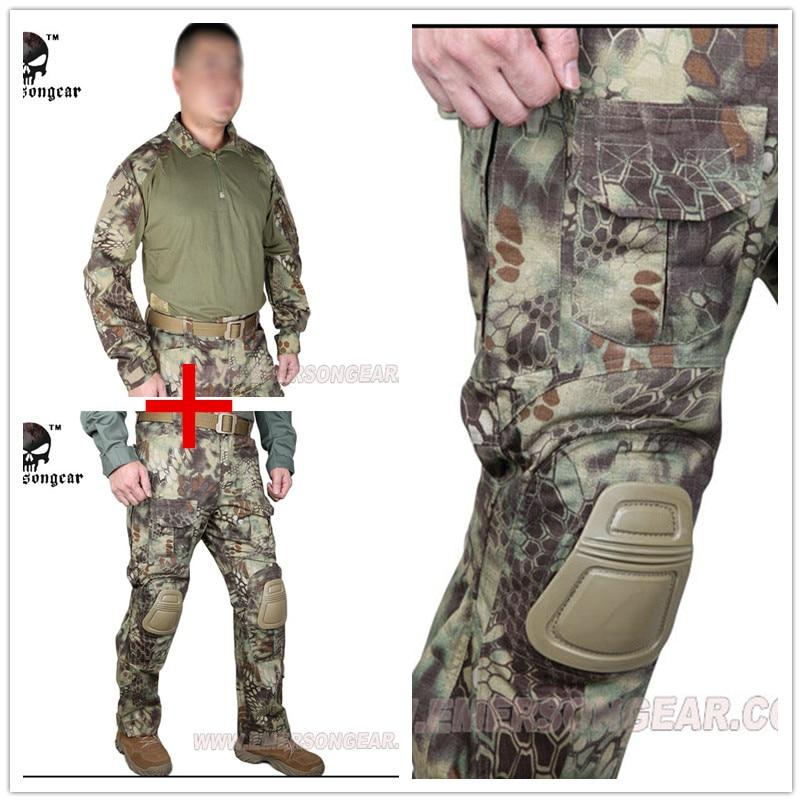 Kryptek Mandrake Emerson bdu G3 uniforme camisa Pantalones con rodilleras Trajes airsoft waregame Caza MR EM8593 + 7046