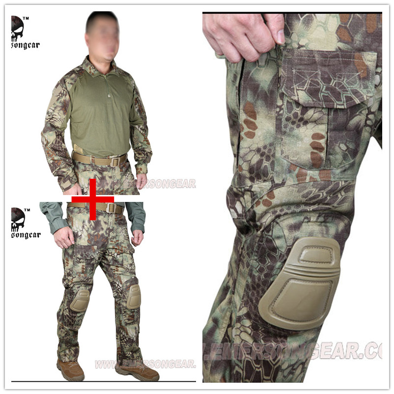 Kryptek Mandrake Emerson bdu G3 uniform shirt Pants with knee pads Suits airsoft waregam ...
