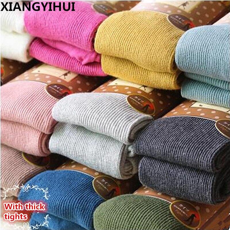 Alta elastico collant collant femminili Collant Caldi in Inverno Pieno di Cotone Verticale Pattern di Colori Caramella Vestito collant Termico