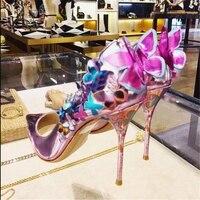 Hanbaidi Роскошные Зеркало кожа Обувь на высоких каблуках Для женщин бабочка цветок острый носок с открытым носком розовые туфли лодочки женск