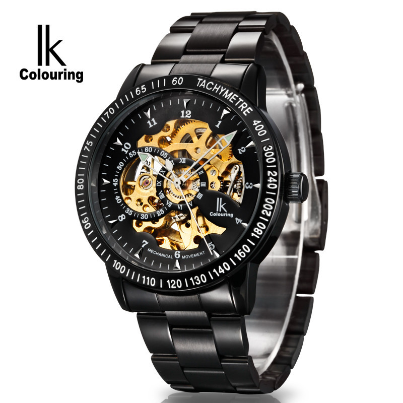 2017 IK Colouring Fashion Horloge Men's Skeleton Watch Auto Mechanical Stainless Steel Watches Wristwatch Gift Box Free Ship k colouring women ladies automatic self wind watch hollow skeleton mechanical wristwatch for gift box