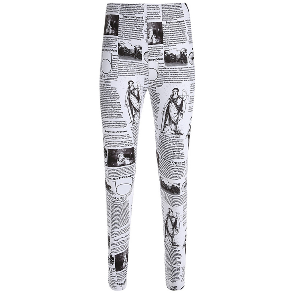 Women's Leggings Fashion Push Up Workout Newspaper Print Activewear Skinny Sports Running Athletic Legins Jeggings Лосины#JY