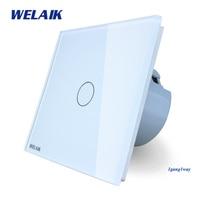 WELAIK Crystal Glass Panel Switch White Wall Switch EU Touch Switch Screen Wall Light Switch 1gang1way