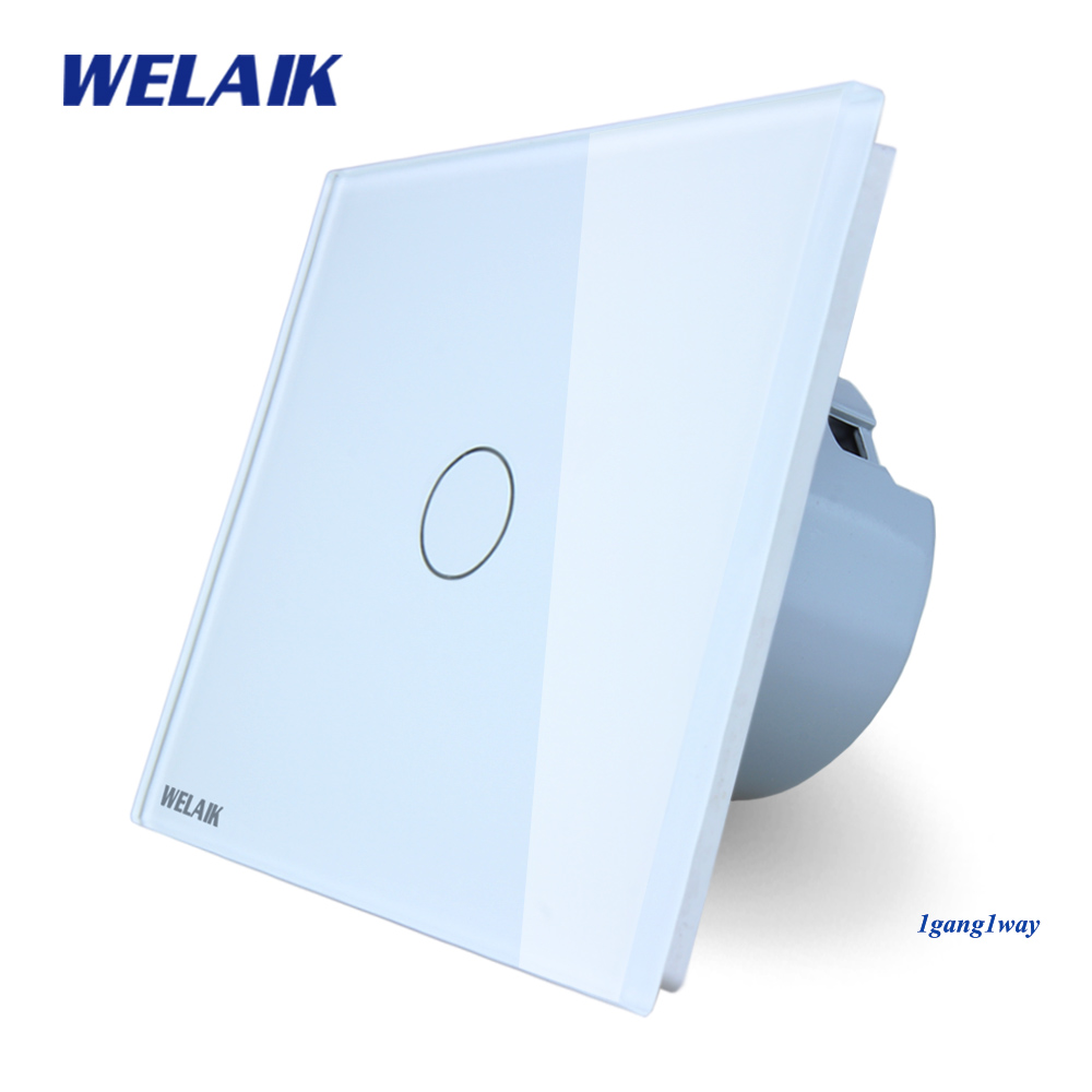 Welaik nuevo panel de cristal interruptor de pared UE Interruptor táctil pantalla pared interruptor 1gang1way LED lámpara A1911CW /b