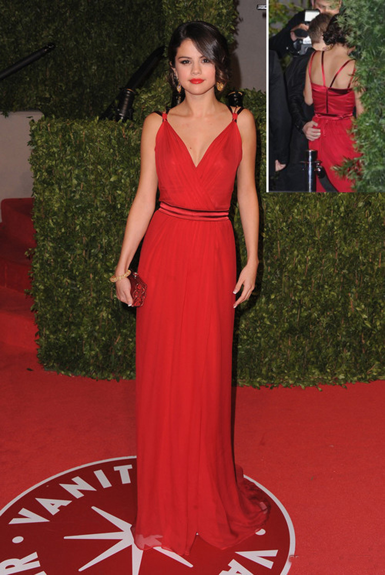 Vestido De Festa Selena Gomez Red Long Evening Dresses Y Deep V Neck Maxi Celebrity Prom Dress Made In China Chiffon Inspired