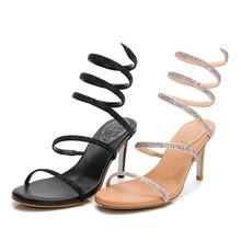 9d7f3349a322ee 2019 New Snake Shape Women Flat Sandals with Rhinestones Fashion Gladiator  Flip Flops Girl Trendy Sandals