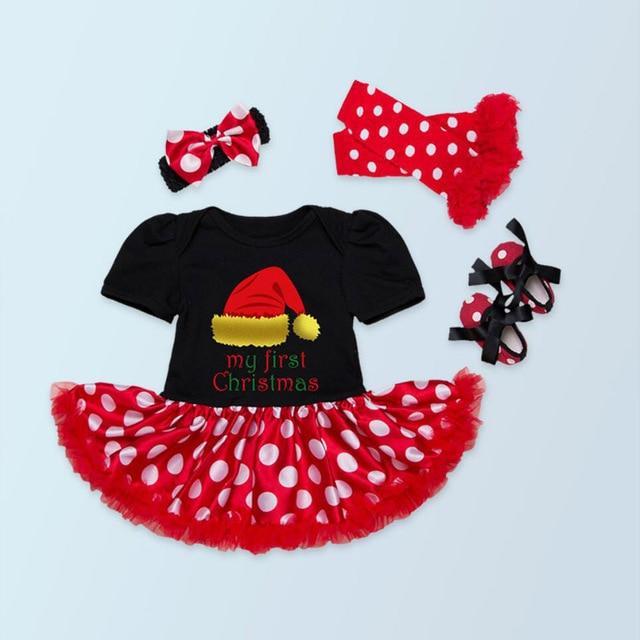 4PCs per Sets Infant Girl Clothes Short Sleeves Black Baby Girl My 1st Christmas Dress Shoes Leggings Headband