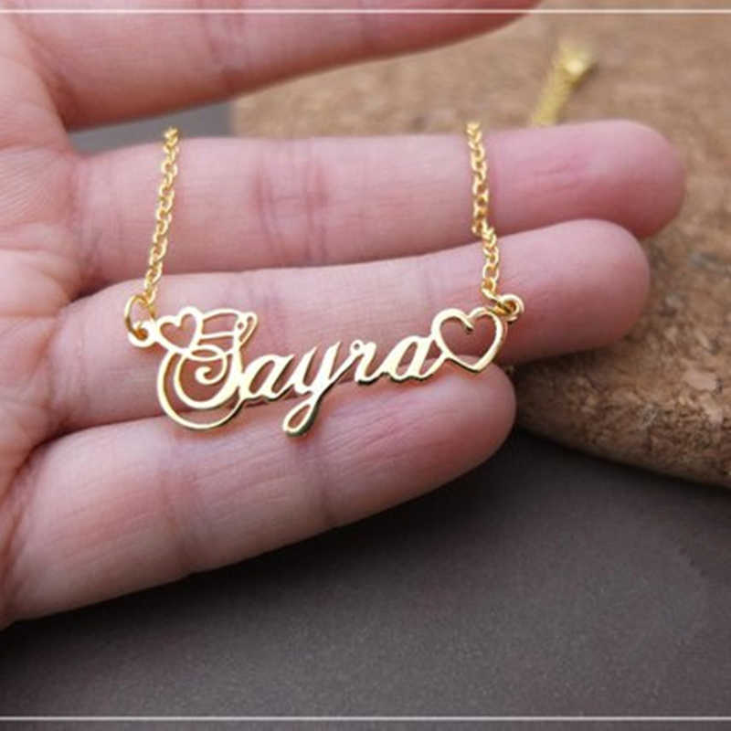 Handmade Personalized Name Pendant With Tiny Heart Cursive Nameplate Necklace Women Men Customized Jewelry Kids Birthday Gift