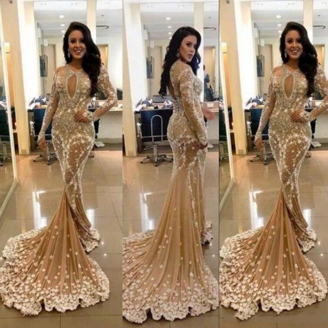 795e786a8b Evening Gowns Prom Gown robe de soiree 2019 Champagne Formal Dresses Long  Sleeves Sexy Appliques Beaded Party Dress abiye