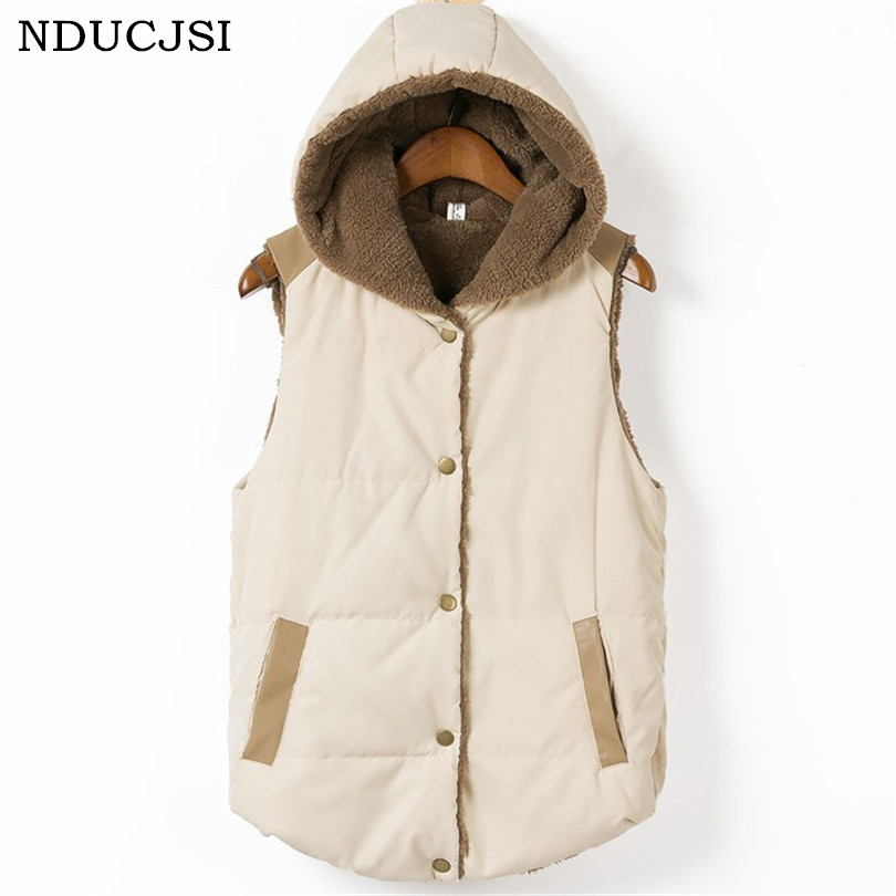 Hot Outerwear Winter Coats Women Vests Waistcoat Female Sleeveless Autumn Clothes Coral Fleece Warm Hooded Thick Down Vest S265