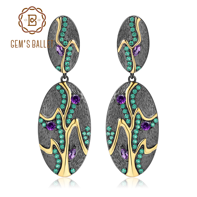 GEM'S BALLET Georgia O'keeffe Leaf Earrings 0.76Ct Natural Amethyst 925 Sterling Silver Handmade Drop Earrings for Women Bijoux