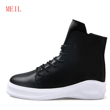 Thick Sole Men Casual Shoes High Top Lace Up Fashion Man Leisure Black Leather Shoes Hip Hop Zapatos Mens White Leather Sneakers недорого
