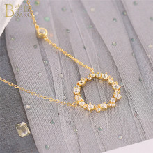 BOAKO Small Round Circle Pendant Necklace Women Crystal Necklaces Collier Femme 100% 925 Sterling Silver Jewelry Gold Necklace цена