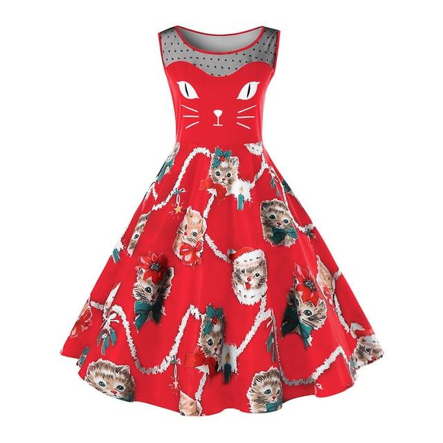 4b8eddafce8d Kenancy Plus Size Christmas Cat Print Vintage Dress Elegant O Neck  Sleeveless Party Vestidos Robe Rockabilly Swing Women Dresses