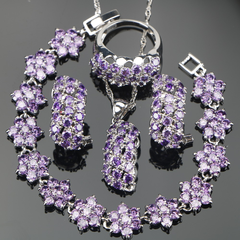 4PCS Hot Bridal Silver 925 Purple AAA+ CZ Jewelry Sets Nickle Free Bracelets/Earrings/Pendant/Necklace/Rings For Women Рыбная ловля