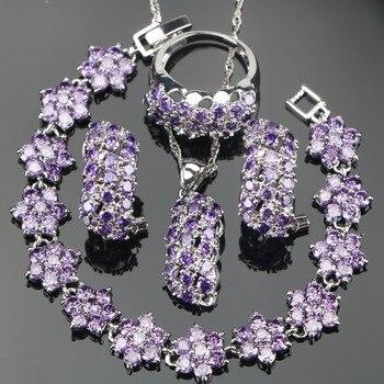40c3567eb574 Joyería nupcial púrpura Zirconia plata 925 boda conjuntos pulseras piedras  pendientes para mujer COLLAR COLGANTE anillos conjunto caja de regalo