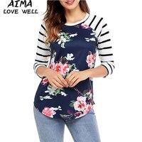 2017 Fashion Loose Long Sleeve Cotton Blouse O Neck Women S Shirts Print Striped Patchwork Asymmetric
