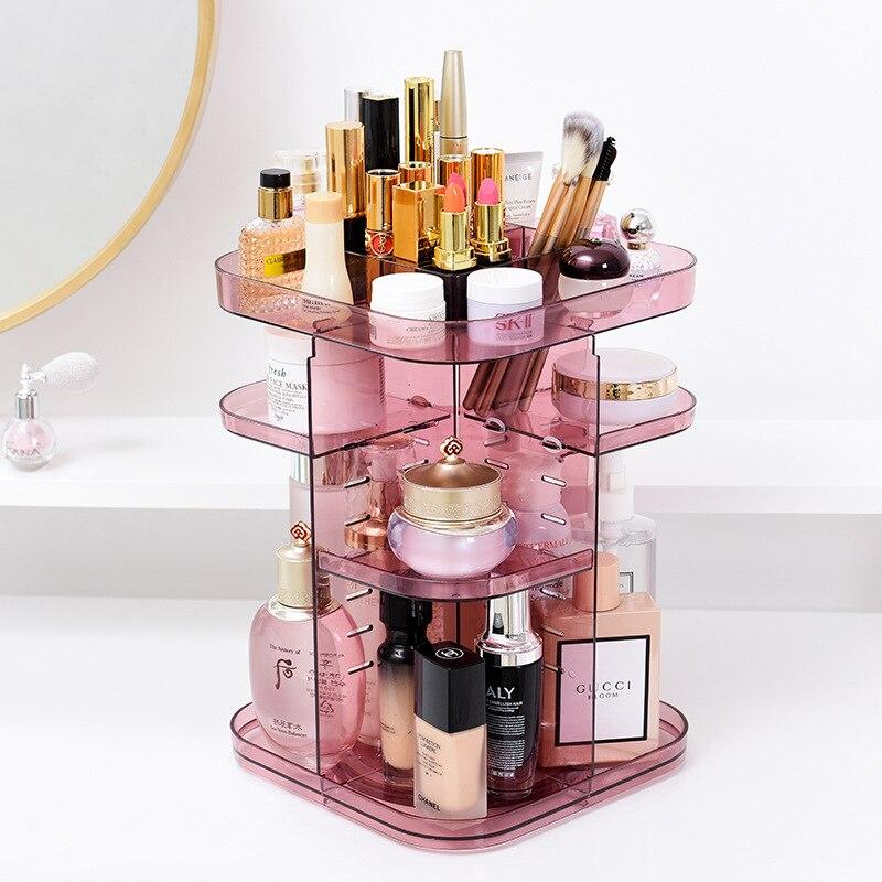Skin Care Swf: Transparent Square Cosmetic Box, Creative Rotating Skin