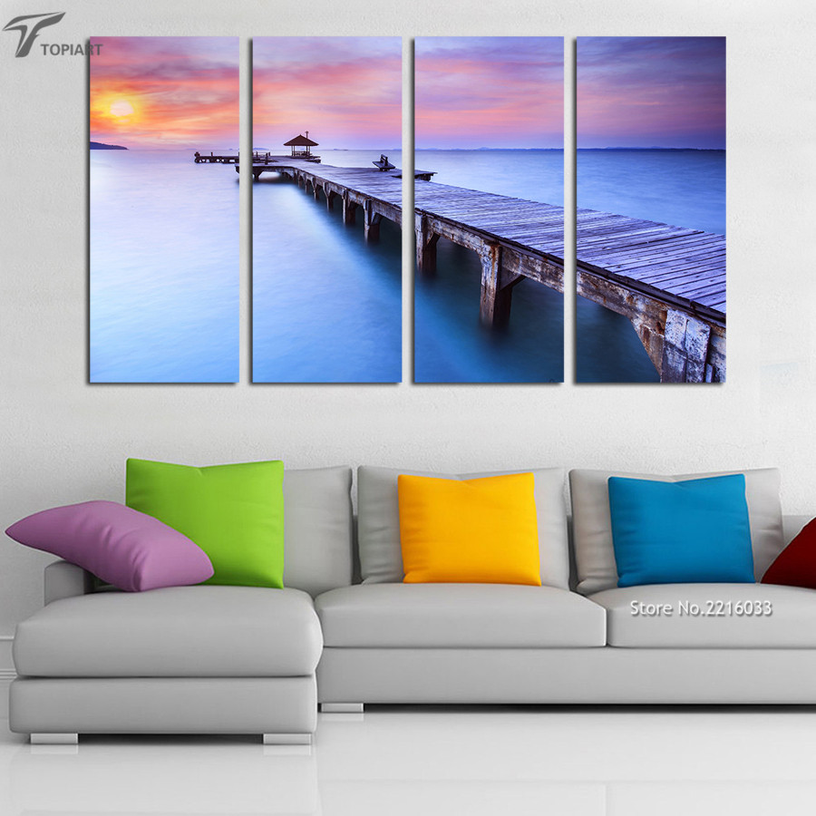 4 Piece Modern Wall Art Printed Bridge Canvas Painting Decorative Sunset Seascape Pictures for Living Room Home Decor No Frame