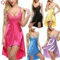 DL3 Nueva 2017 Sin Relleno sexy lingerie Teddies Disfraces sexy ropa interior ropa de Dormir Camisón Sexy Intimates Sexy Vestidos de 6 Colores