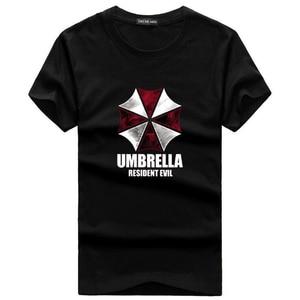 Мужская футболка с коротким рукавом, летняя хлопковая Футболка с принтом в виде зонтика, большой размер 5XL