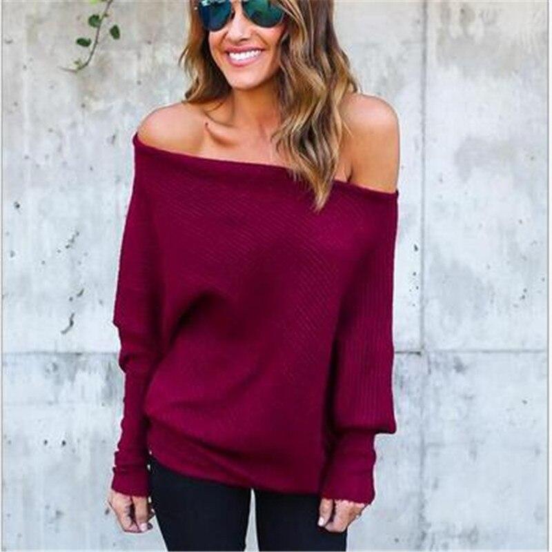 Manga larga o-Cuello hombro mujeres Sexy Tops suéteres 2019 nuevo Otoño Invierno negro blanco rojo vino suelto Tops mujer suéter