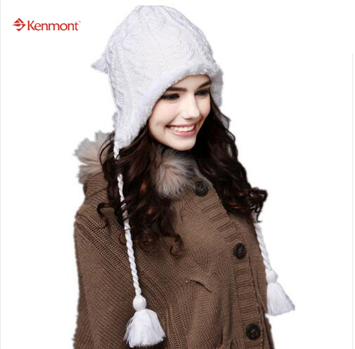 New Hat Inverno Beanie Hat Kenmont Women Ski Cap Winter Fashion Wool Acrylic Earflap Ski Warm Hat Beanie Cap C-1140 the new children s cubs hat qiu dong with cartoon animals knitting wool cap and pile
