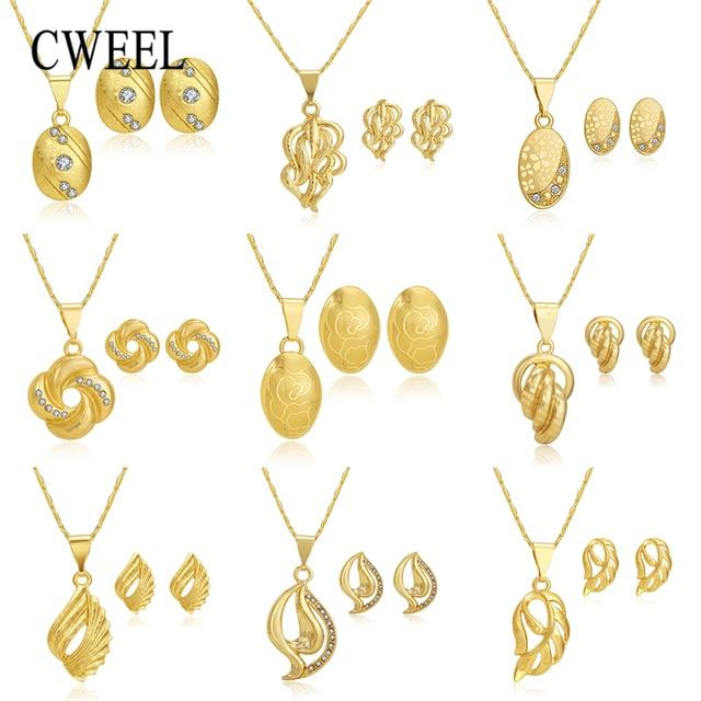 CWEEL תכשיטי סט לנשים אפריקאי חרוזים תכשיטי סט חתונת קולר שרשרת עגילי כלה דובאי האתיופית תכשיטי סטים