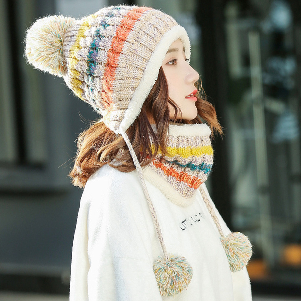 2018 Fleece Lined Women Ladies Knit   Beanie   Scarf Set Girl Winter Ski Hat With Earflap Pompom Soft And Fashionable