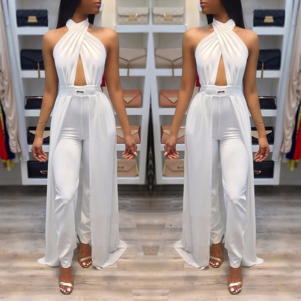VAZN 2017 New Fashion High Quality   Jumpsuit   Summer Sleeveless Full Length   Jumpsuit   Solid White Overalls For Women 9110