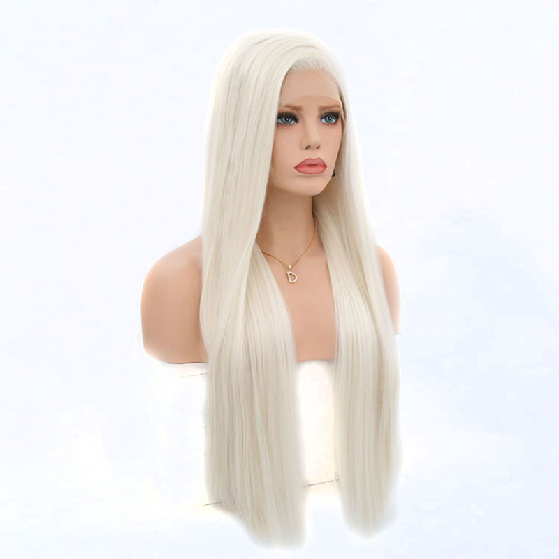 Bombshell Platin White Straight Synthetic Lace Front Wig Glueless Natural Hairline Heat Resistant Fiber Synthetic Hair