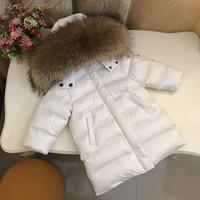 Children Winter Down Jackets Natural Raccoon Fur Collar Kids Outerwear For Boys Girls 12M 2T 3T 4T 6T 8T 10T 12T Coat Cyy365