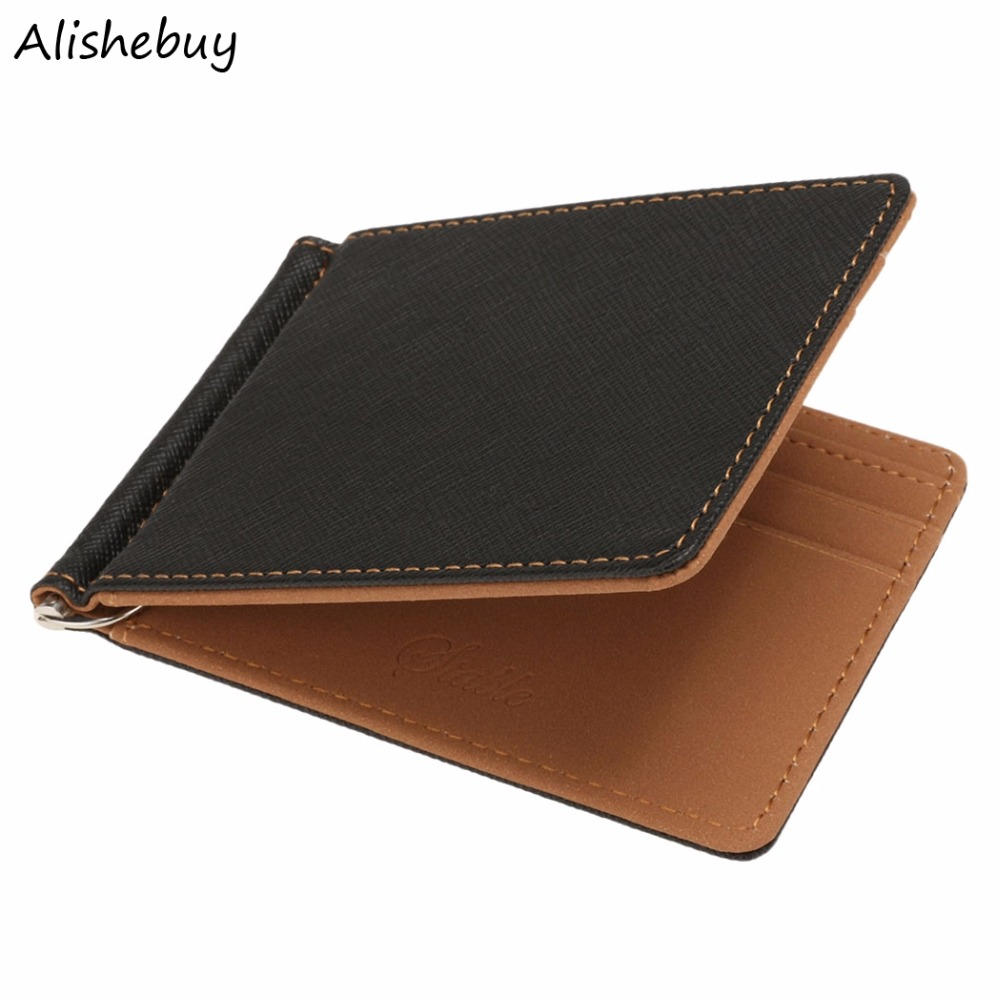 Fashion New Unisex Business Men Money Clips Black Grey Leather 2 Folded Open Clamp Gentleman Card Holder Money Clip SV013633