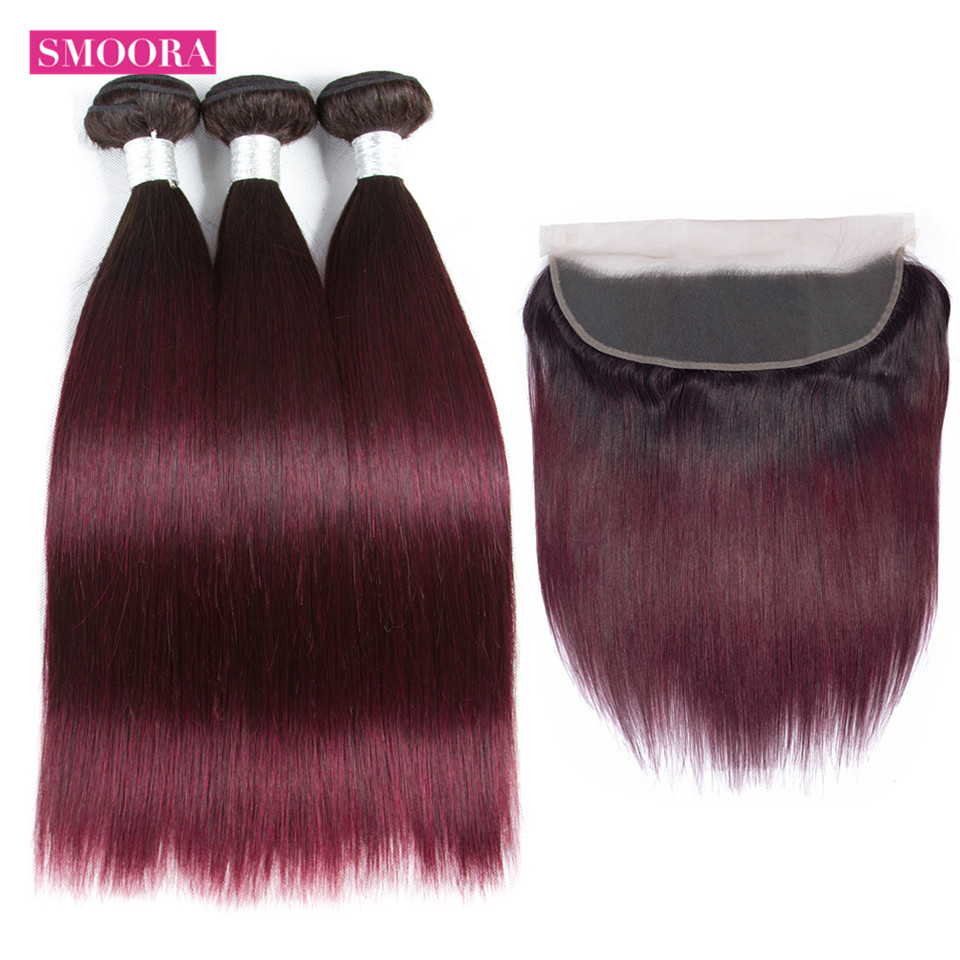 Ombre Bundles with Lace Frontal Closure Brazilian Straight Human Hair Weave 3 Bundles with Frontal 2
