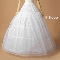 Abbille Wholesale 3 Hoops One Layer Tulle Crinoline for Ball Gown Dress White jupon White Petticoat In Stock wedding underskirt
