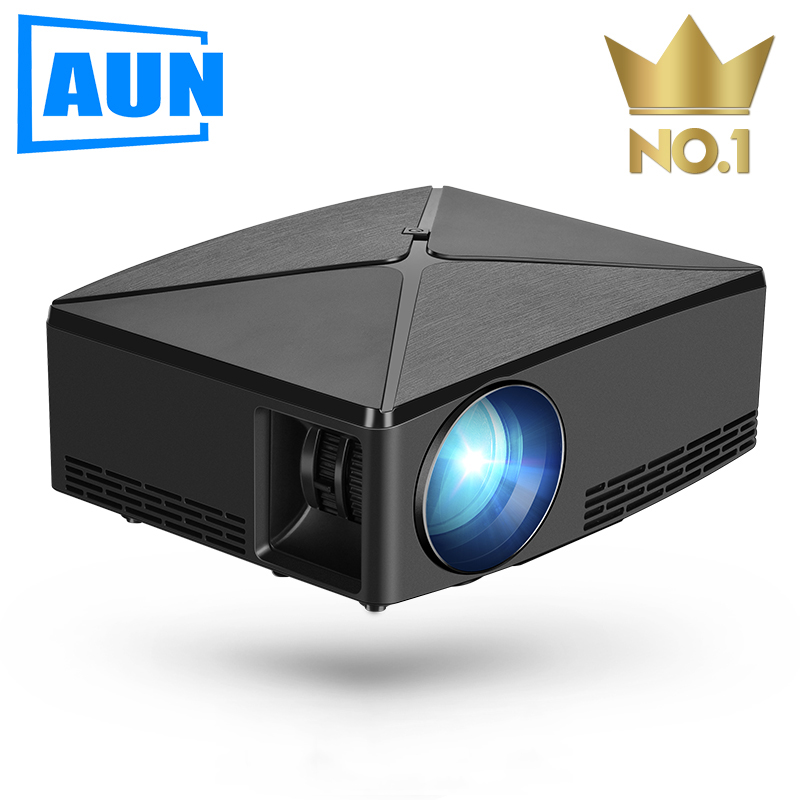 AUN LED Projector C80UP, 1280x720 Resolution, Android WIFI MINI Projector For 3D Home Cinema, Optional C80 Beamer(China)