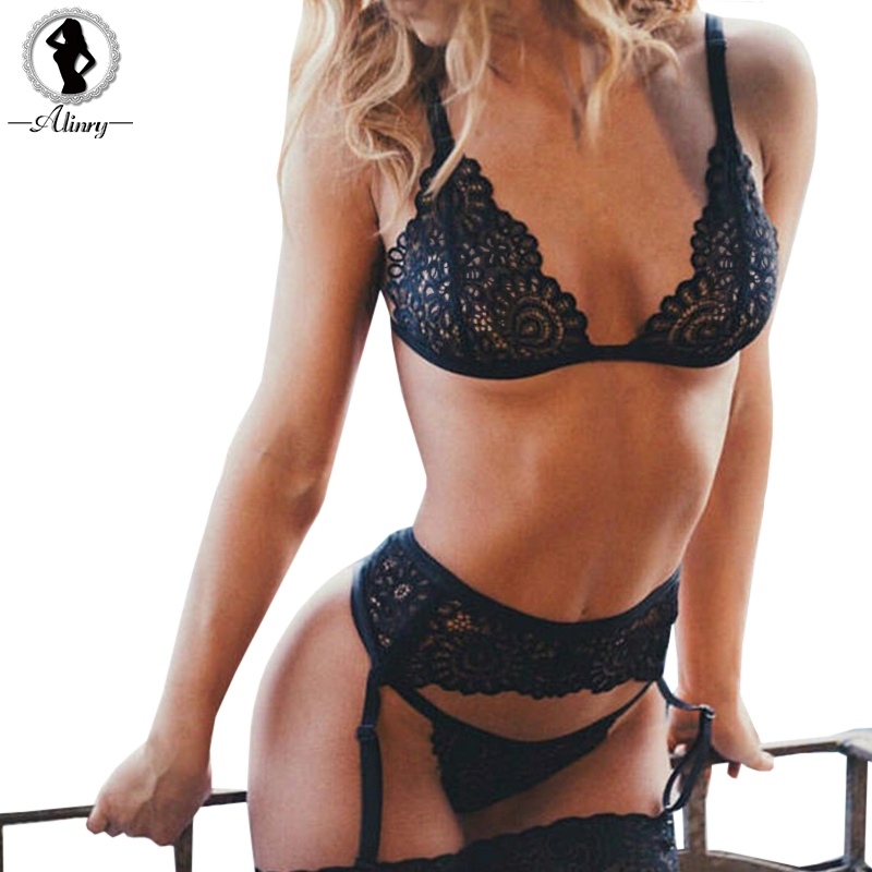 ALINRY sexy lace   bra   panty garter belt   set   women black transparent wire free lingerie 2019 seamless intimates underwear bralette