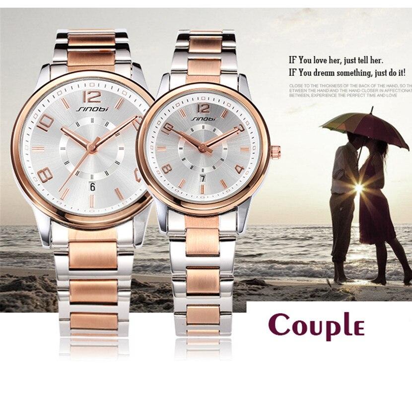 2017 SINOBI Luxury Watch Women Men Lover's Quartz Watch Fashion Reloj Mujer Ladies Watches Women Waterproof Relogio Masculino