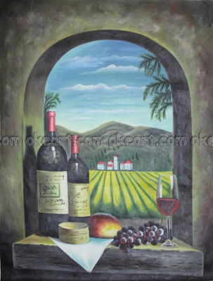 oil paintings landscape vineyard winery window wine bottles glass grapes large restaurant. Black Bedroom Furniture Sets. Home Design Ideas