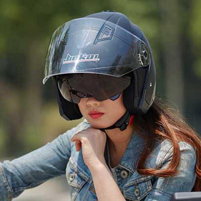 women men Dual lens  motorcycle helmet JIEKAI JK516 ,electric bicycle motorbike scooter helmet M L XL XXL white pink red blue