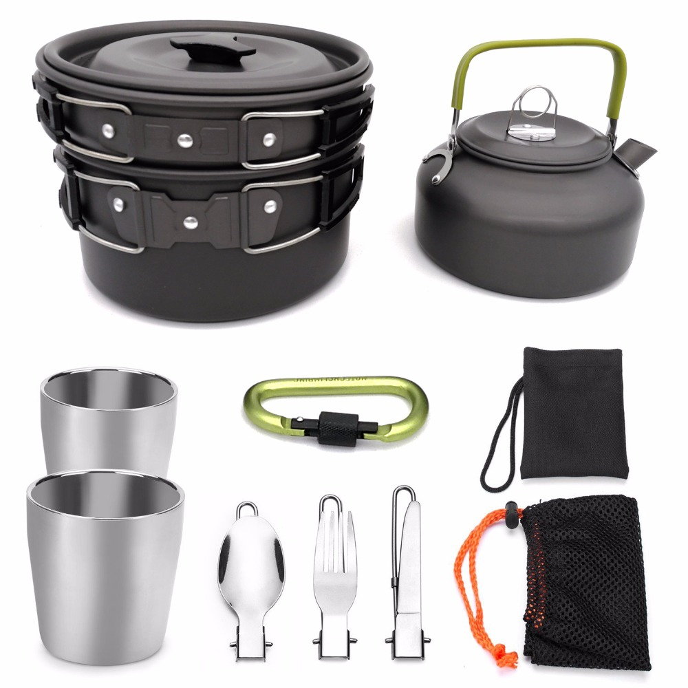 1 Set Outdoor Pots Pans Camping Hiking Cookware Picnic Cooking Set Non stick Bowls With Foldable Spoon Fork Knife Kettle Cup