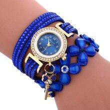 2017 Relogio Feminino Hot Sale Fashion Womens Fashion Chimes Diamond Leather Bracelet Lady Womans Wrist Watch#MAY23 *