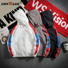 Covrlge Hooded Jackets Men New Patchwork Color Block Jacket Fashion Tracksuit Casual Coat Hip Hop Outwear Streetwear MWJ136