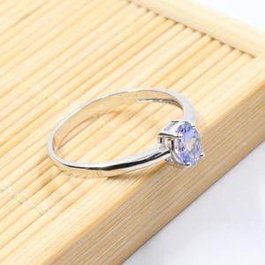 Image 4 - Hotsale gümüş tanzanite yüzük 4 mm * 6 mm gerçek tanzanite yüzük nişan için katı 925 gümüş tanzanite yüzük romantik hediye