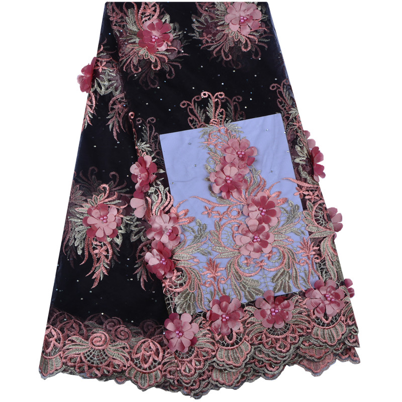 2019 New Design African Lace Fabrics French Net Embroidery 3 D Flowers petals Tulle Lace Fabric