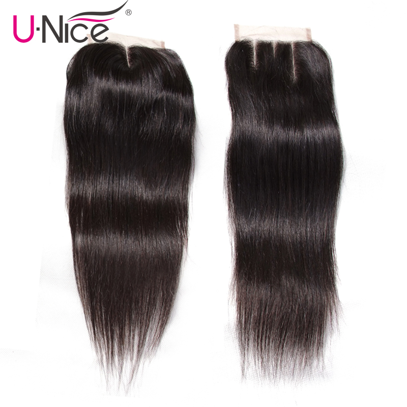 UNICE HAIR 4 Bundles with Closure Malaysian Straight Hair Weave with Closure Natural Color Remy Hair Swiss Lace Closure 5 PCS