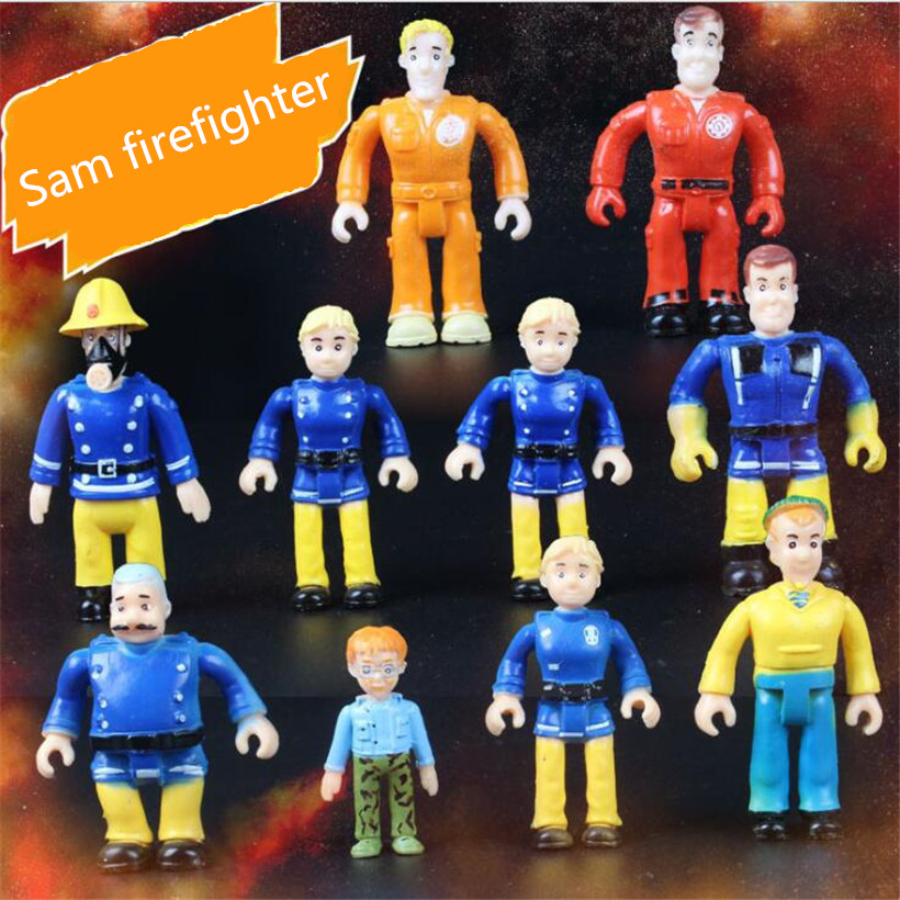 4-7 CM Newest 10 Pcs/Set Anime Movie Fireman Sam Action Figure Cute Cartoon PVC Figure Doll Juguetes Kids Toys Christmas Gifts