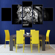 Canvas Wall Art Pictures Framework Home Decoration Poster 5 Pieces Forest Animal White Tiger HD Printed Painting For Living Room