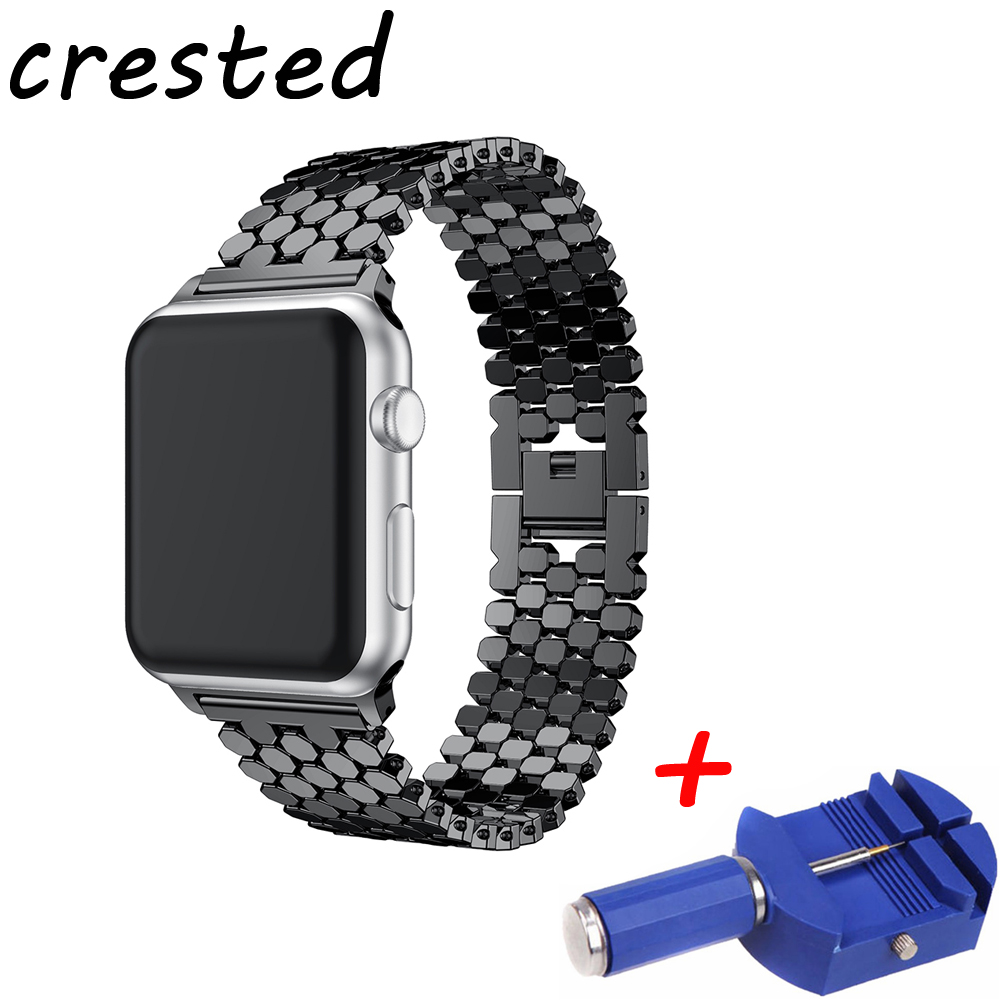 CRESTED link bracelet strap for apple watch band 42mm/38mm stainless steel wrist belt metal watchband for iwatch series 3/2/1