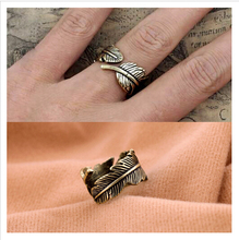 bohemian style retro feather shaped women statement rings for women party wedding ring jewelry free shipping - Bohemian Wedding Rings